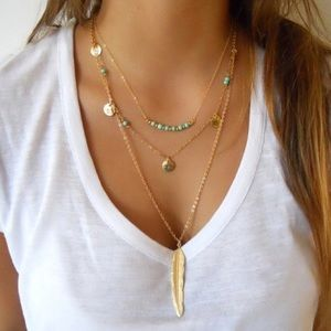 Jewelry - 4 for $25 layered feather coin necklace
